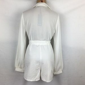Nasty Gal Pants & Jumpsuits - Nasty Gal White Belted Zip Up Romper Shorts